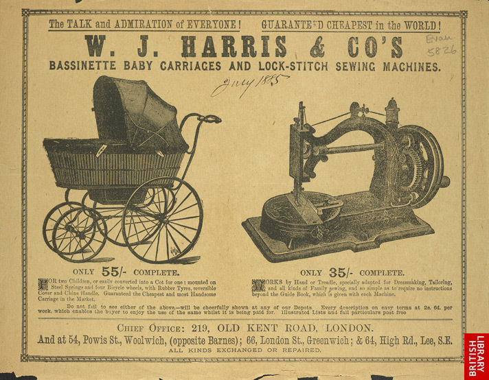 Advert for WJ Harris & Co's Basinette baby carriages and Lock-Stitch sewing machines